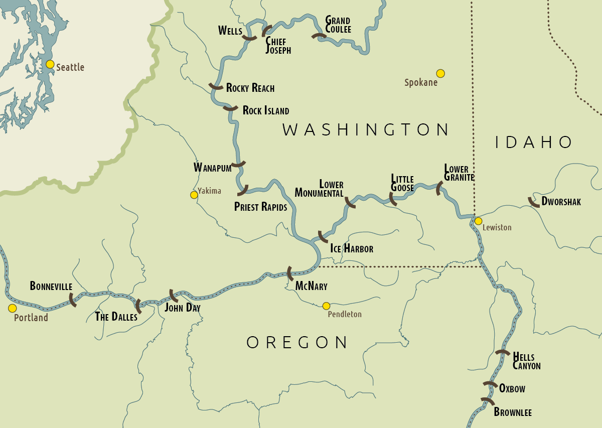 Snake River On A Map Of Us Globalinterco - Columbia river on us map